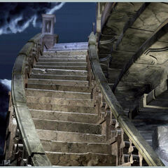 Concept artwork of the stairs leading to the top of the castle.