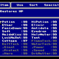 The Item menu in the SNES version.