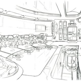 Concept art of the control room.