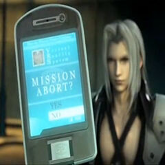Angeal aborts a mission using Zack's cellphone in <i>Crisis Core</i>.