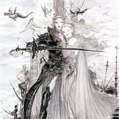 Artwork of Faris, Lenna, and the other Light Warriors by Yoshitaka Amano.