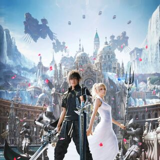 Noctis stands with Lunafreya and magitek infantrymen in Altissia.