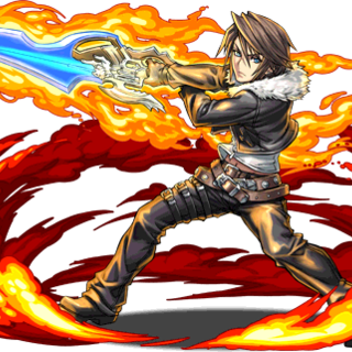 Squall brandishing the Lion Heart for <i>Puzzle &amp; Dragons</i>.