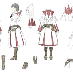 White Mage Relic Equipment concept art.