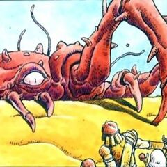 Artwork of a monster in the Marsh Cave from <i>Nintendo Power</i>.
