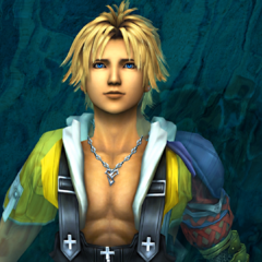 Tidus floating in the Besaid lake.