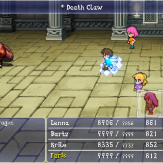 Blue Mage casting Blue Magic in the smartphone version.