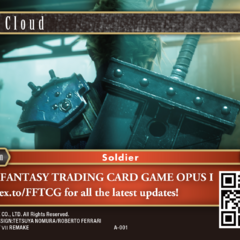 English promotional card depicting Cloud's <i>Final Fantasy VII Remake</i> appearance.