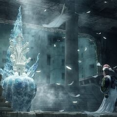Lightning kneels before Etro's Throne.