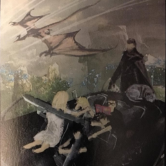 Childhood artwork of young Luna, Noctis and his friends and King Regis on the Regalia in Tenebrae.