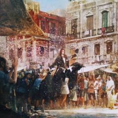 Concept artwork of Ardyn riding atop a black chocobo.