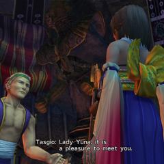 Tasgio talking to Yuna.