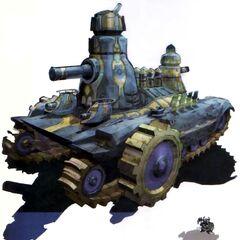 Art depicting a dwarf with a tank.