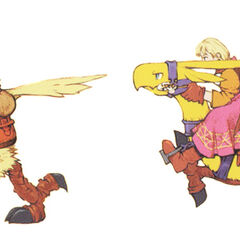 Ramza and Alma riding chocobos.