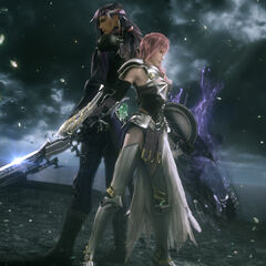 Caius and Lightning stand back-to-back.