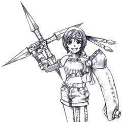 Concept art of Yuffie by Tetsuya Nomura.