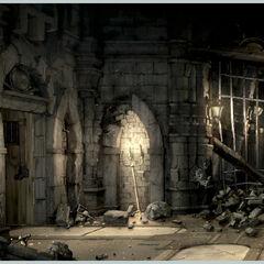 Concept artwork of a Alexandria Castle room.