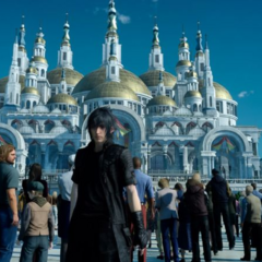 Noctis outside the cathedral.