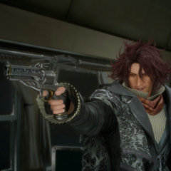 Ardyn brandishing Prompto's gun.