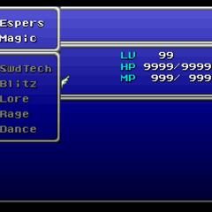 The main Skills menu (SNES).
