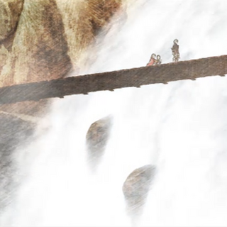 Zeirchele Falls in a cutscene from <i>War of the Lions</i>.