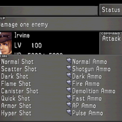 The fourth Status Screen for Irvine, showing Irvine's Limit Break menu.
