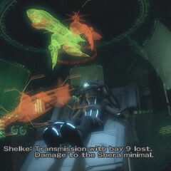 The <i>Shera</i> damage status in <i>Dirge of Cerberus -Final Fantasy VII-</i>.