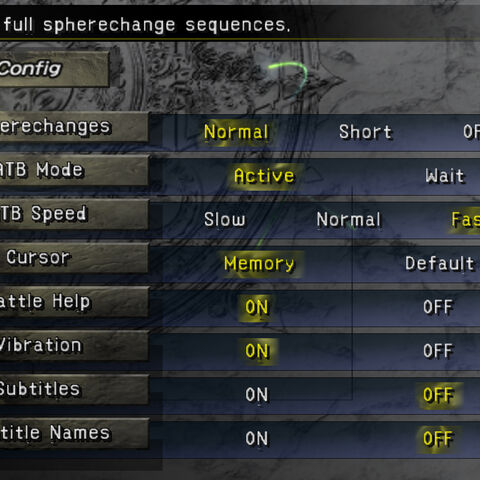 The Config menu (PS2).