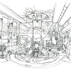 Concept art of the pod entry room.