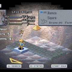 Team setup screen in <i>Final Fantasy Tactics</i>.