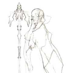 Ramuh sketch with staff (DS).