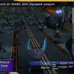 Tidus and Auron fight Sinscales on the Zanarkand freeway (PS2).