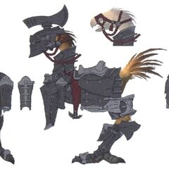 Concept art of a chocobo with tank barding.