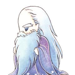 Kazuko Shibuya artwork of Fusoya for <i>Final Fantasy IV</i> (SNES).