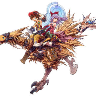 Hurdy riding a chocobo with Luso and Adele.