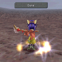 Eiko casting magic while equipped with a flute.