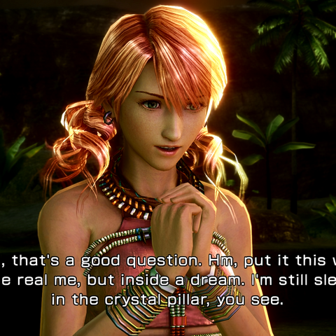 Vanille explains her presence to Serah.