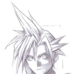 Uncolored sketch of flashback Cloud's menu portrait.
