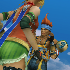 Rikku argues with Wakka about Yuna in <i>Eternal Calm</i>.
