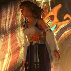 Yuna coming out of the Chamber of the Fayth.