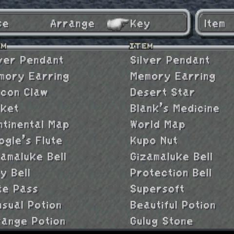 Key Item menu.
