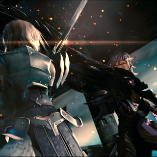Caius engages Lightning in battle.
