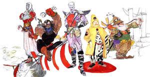Os personagens Cid (da esquerda para direita) de Final Fantasy III, Final Fantasy II, Final Fantasy IV, Final Fantasy V e Final Fantasy VI.