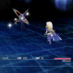 Paladin Cecil attacking with a holy sword in <i>Final Fantasy IV</i> (DS).