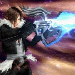 Squall performing Lion Heart in <i>Dissidia Final Fantasy</i>.