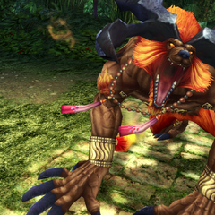 Ifrit's victory pose.