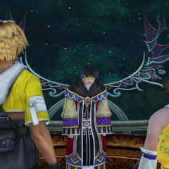 Tidus and Yuna confront Mika in <i>Final Fantasy X</i>.