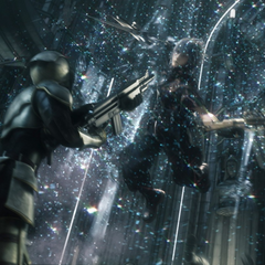 Noctis engages the soldiers in the extended version of the trailer.