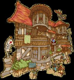 Typowa karczma - ilustracja do Final Fantasy Crystal Chronicles: My life as a King.
