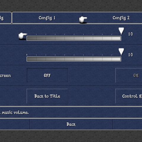 The Config 2 menu (iOS).
